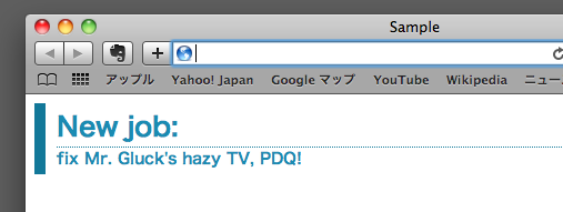 CSSが正しい場合のブラウザーでの表示