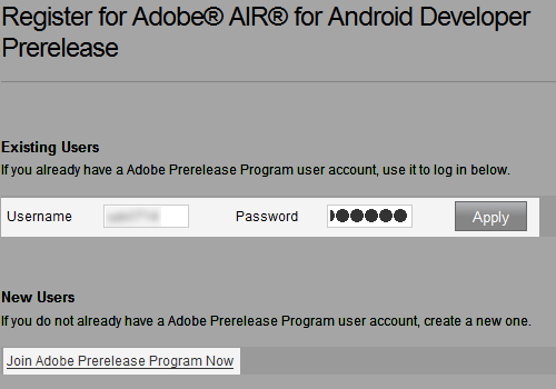 Register for Adobe® AIR® for Android Developer Prerelease