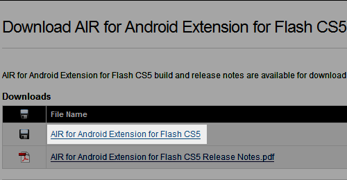 Download AIR for Android Extension for Flash CS5 [05/20/10]
